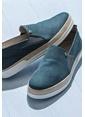 Elle Deri Ayakkabı Mavi